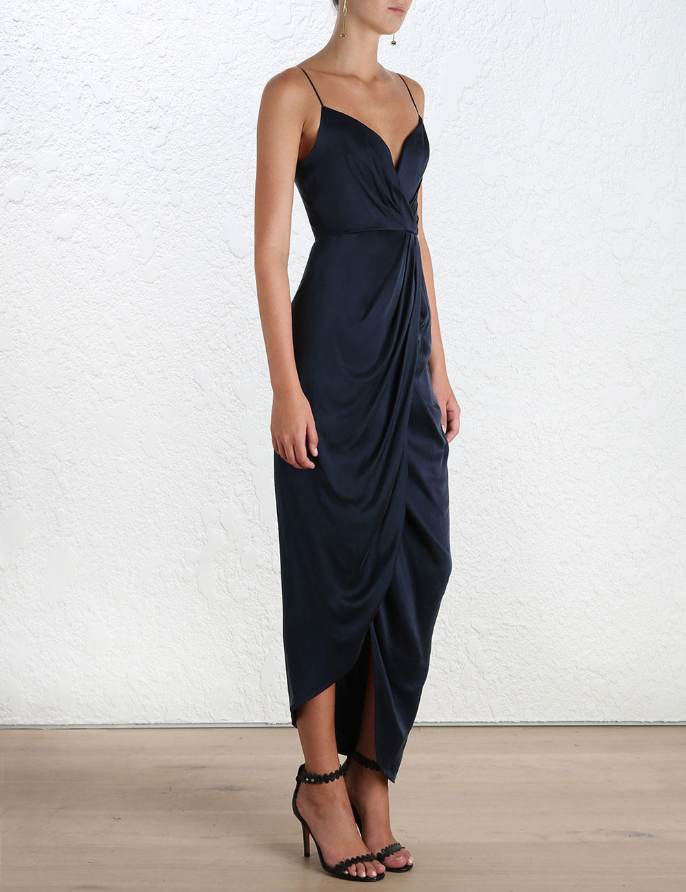 252f3af293 Lyst - Zimmermann Sueded Silk Plunge Long Dress in Blue