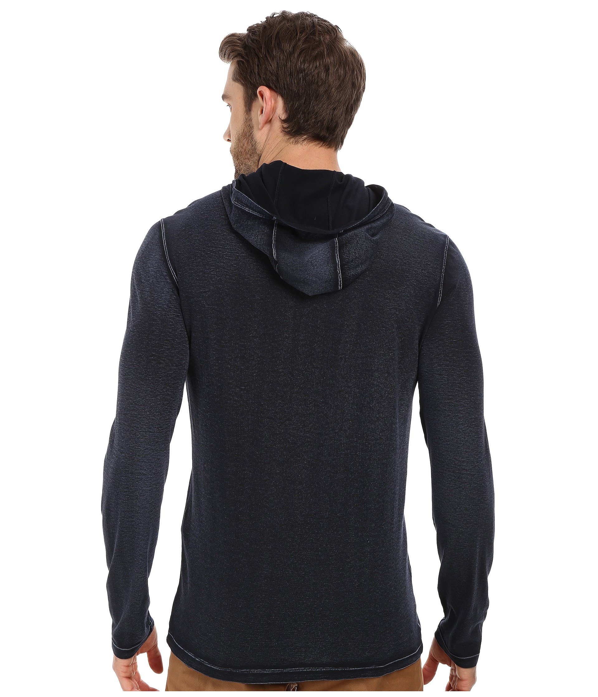 John varvatos Long Sleeve Pullover Knit Hoodie With ...