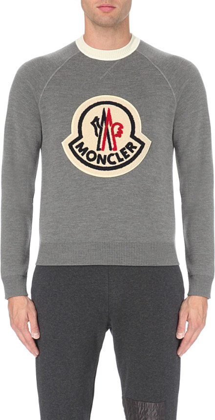 7aeaf5295b80 Moncler Logo-patch Knitted Jumper in Gray for Men - Lyst