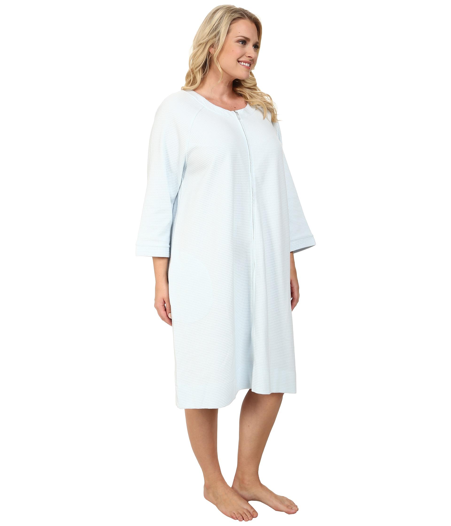 0bee3f3c34 Lyst - Carole Hochman Plus Size Waffle Knit Short Zip Robe in Blue