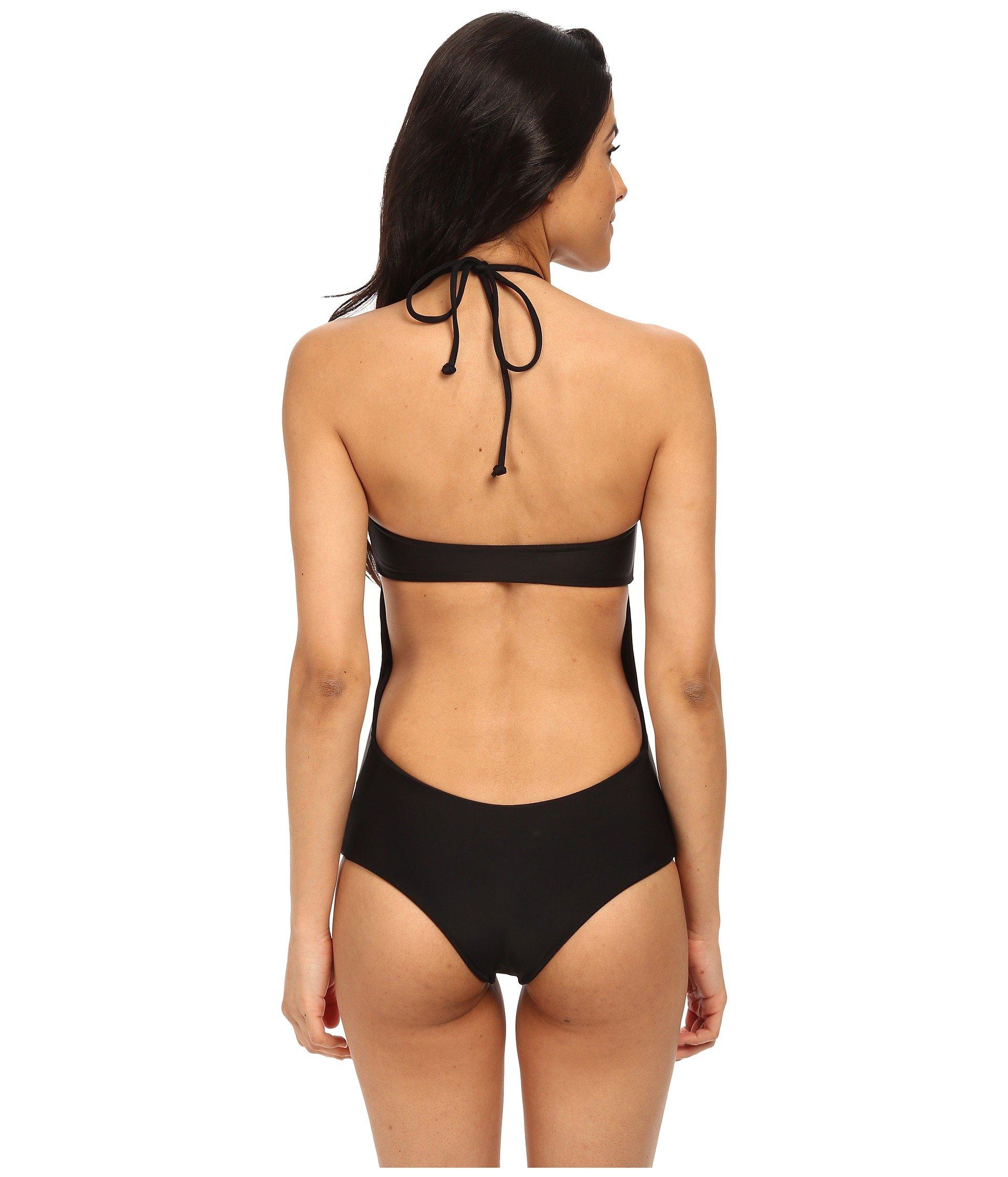 28e8d15088 Mikoh Swimwear Moorea Woven Halter Detail One-Piece With Boy Short ...