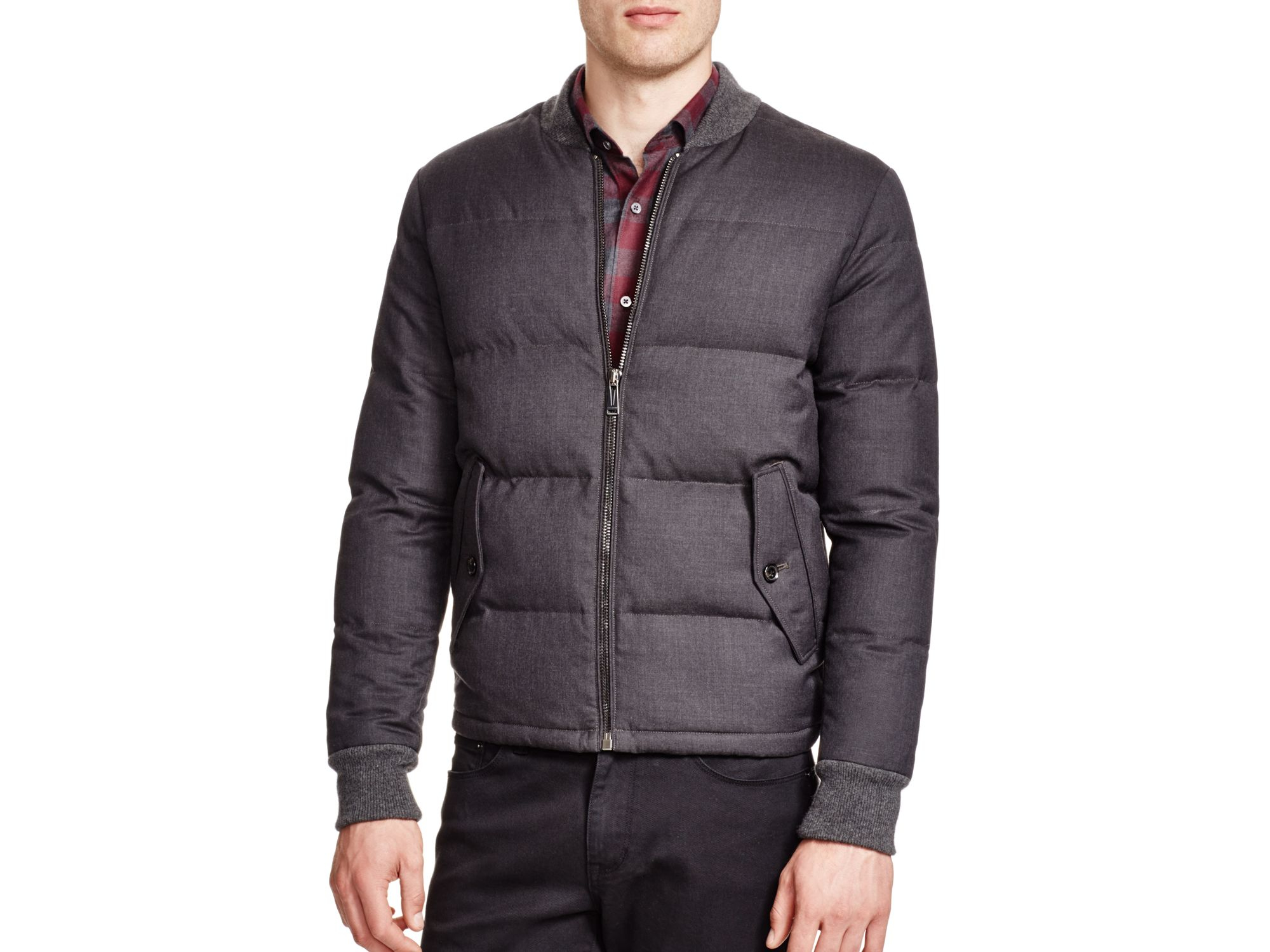 Lyst Kent Amp Curwen Wool Down Bomber Jacket In Gray For Men