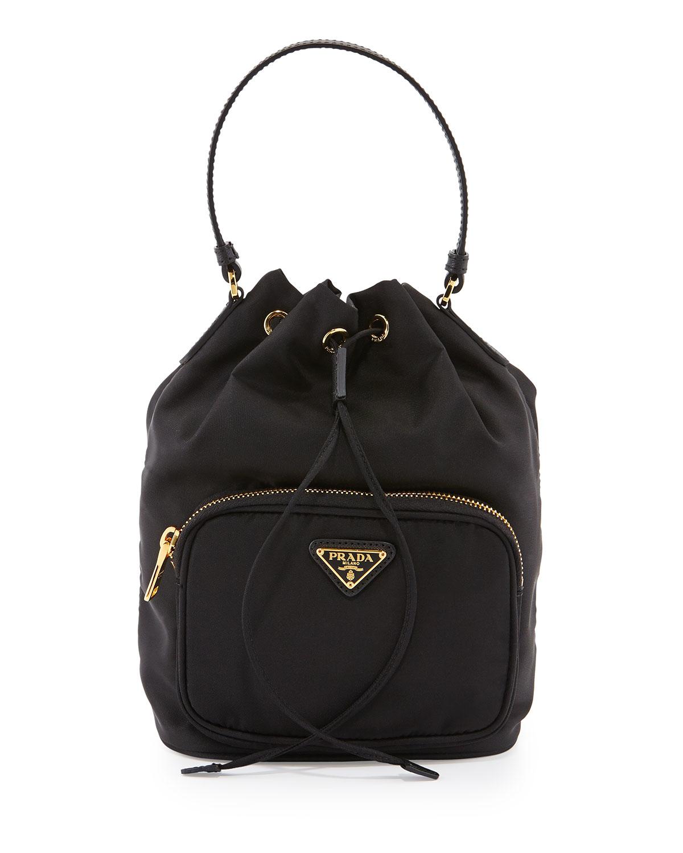 Prada Tessuto Mini Bucket Crossbody Bag in Black | Lyst