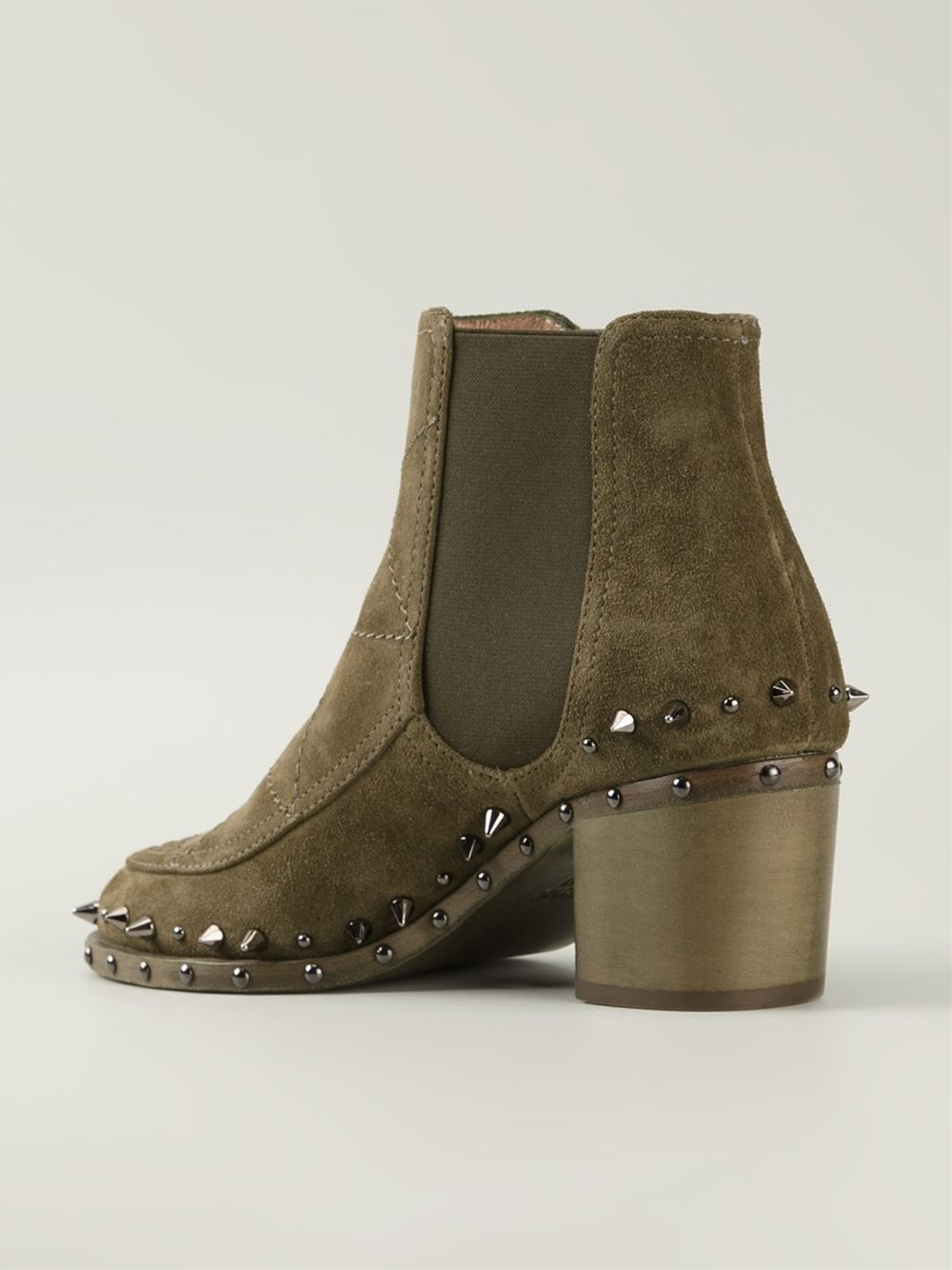 laurence dacade studded ankle boots in green lyst