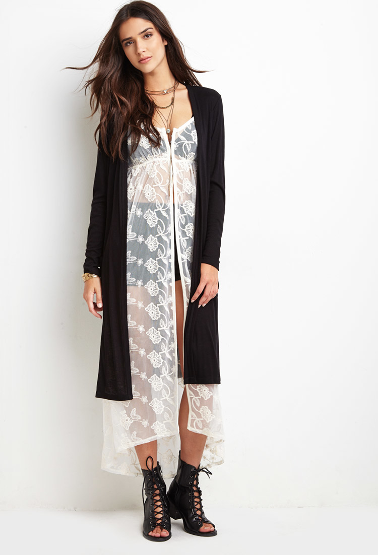 Forever 21 Ribbed Knit Longline Cardigan in Black | Lyst