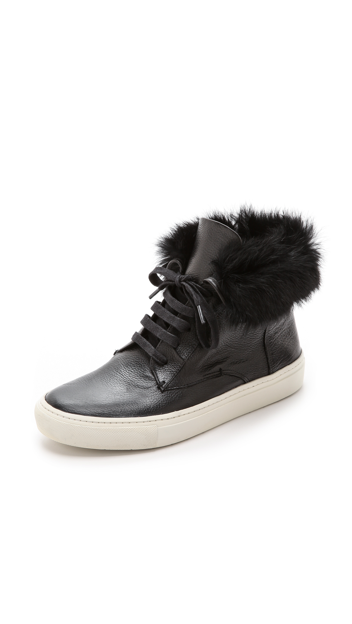 Vince Nyack Fur High Top Sneakers Black Off White In
