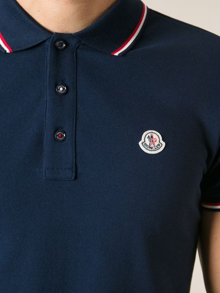 moncler classic polo shirt in blue for men lyst