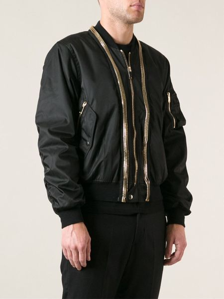 Alexander Mcqueen Zip Trim Bomber Jacket In Black For Men