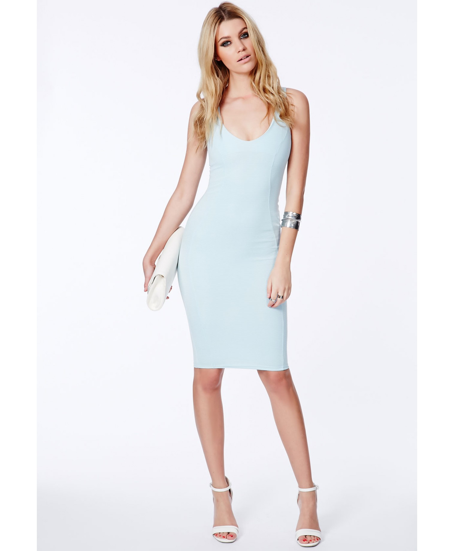 Missguided Ryana Ribbed Bodycon Midi Dress In Baby Blue in Blue | Lyst