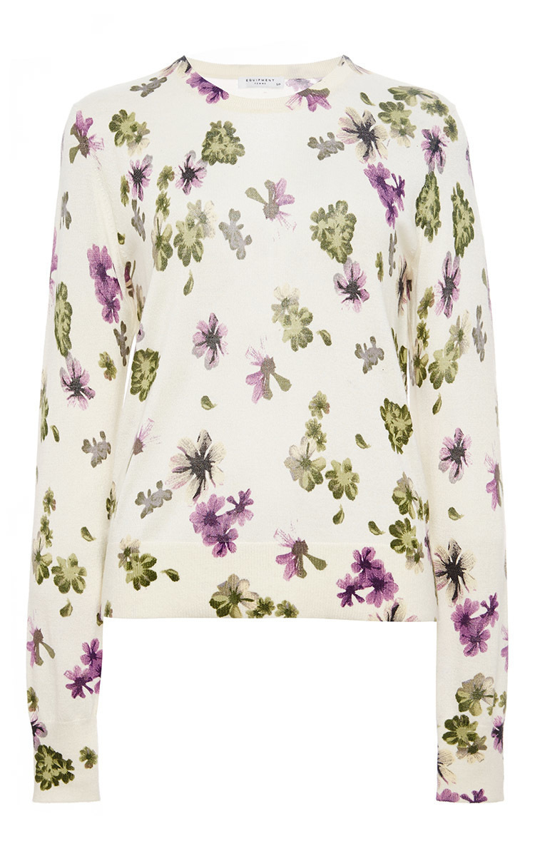 Equipment Sloane Silk Cashmere Floral Printed Sweater in White | Lyst