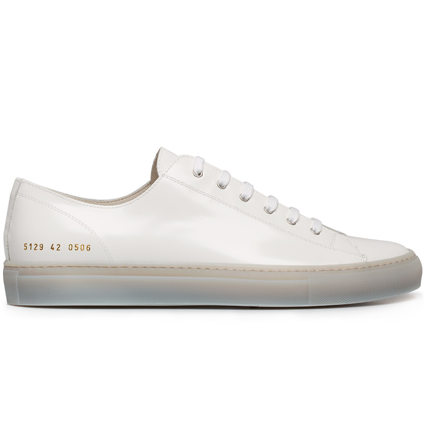 Common projects Tournament Patent-Leather Sneakers in White for Men | Lyst