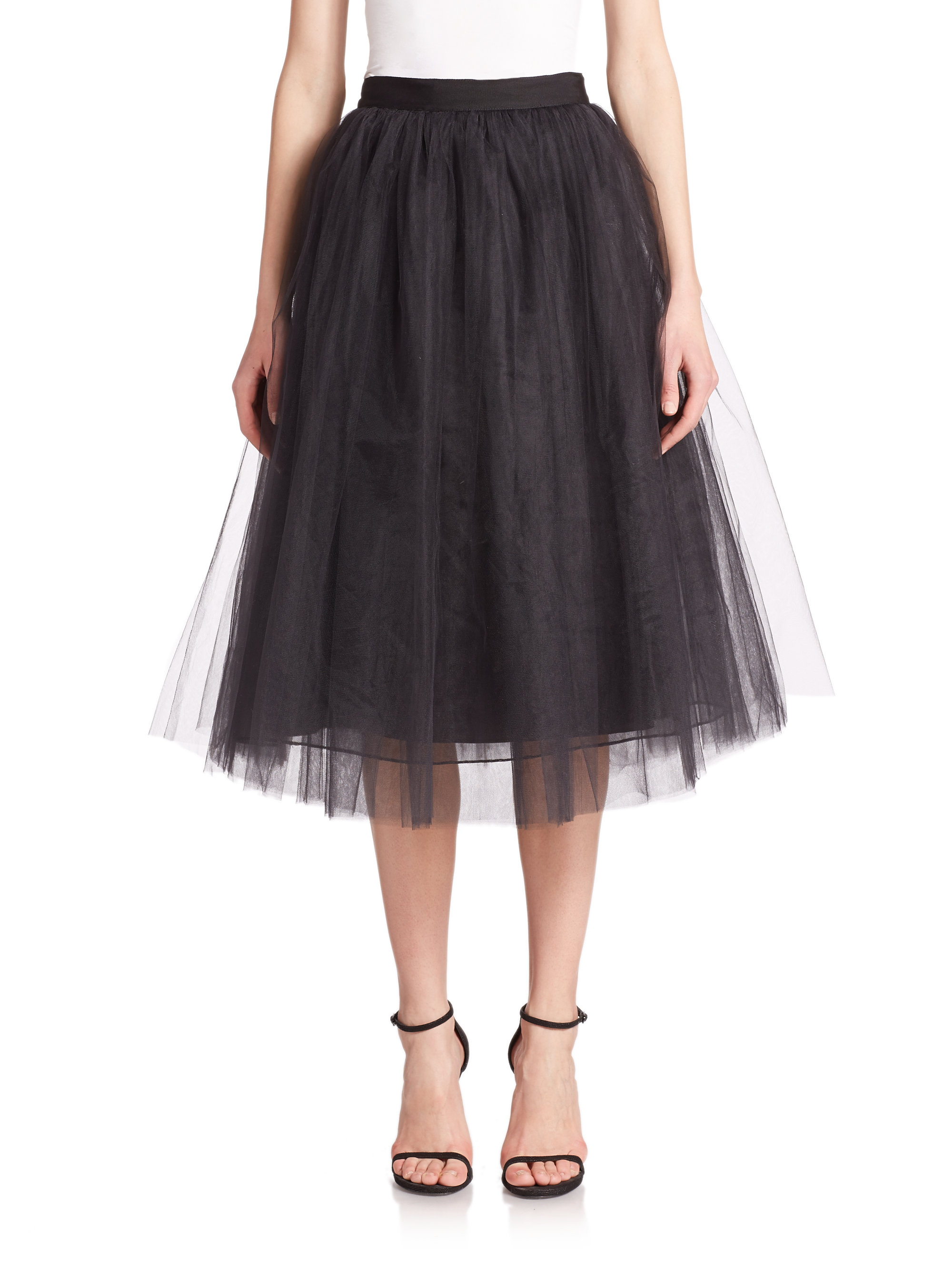 elizabeth and everleigh tulle midi skirt in black lyst