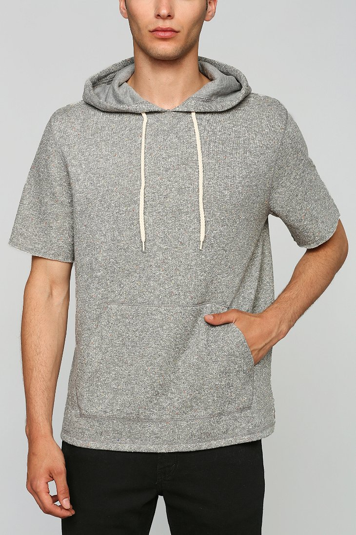 Bdg nep short sleeve pullover hooded sweatshirt in gray for Mens pullover shirts short sleeve
