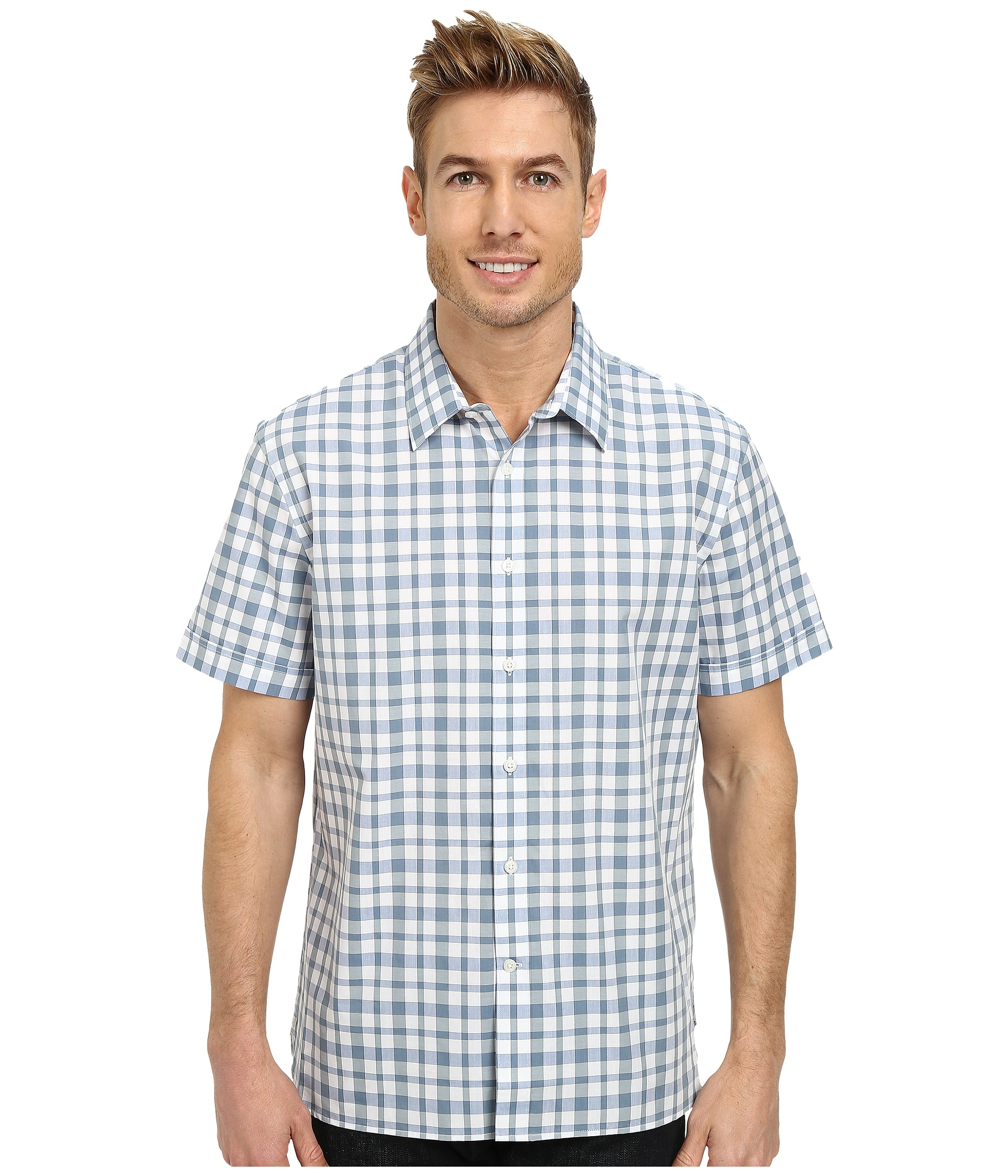 Perry Ellis Short Sleeve Plaid Pattern Shirt In Blue For