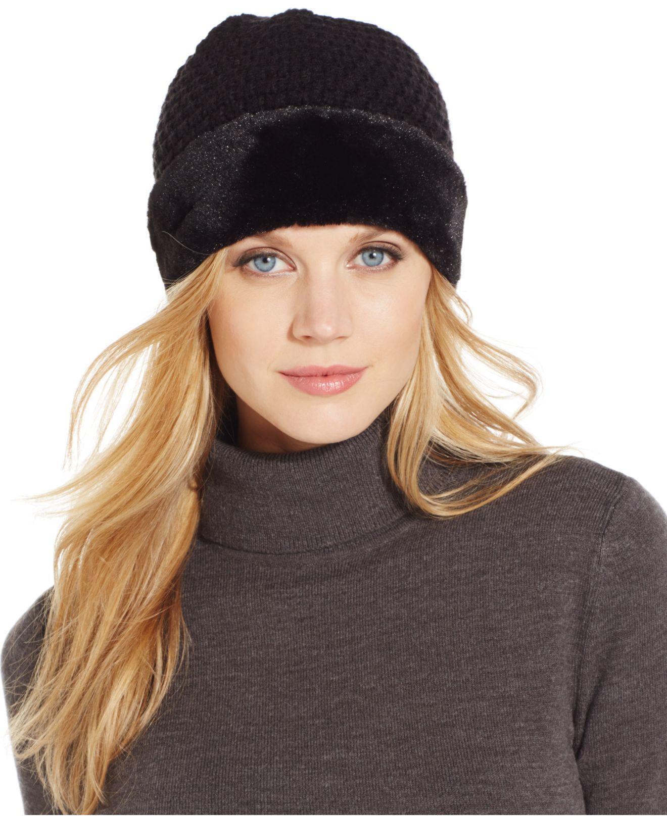 43ad2bfb Calvin Klein Plush Faux Fur Pom Beanie