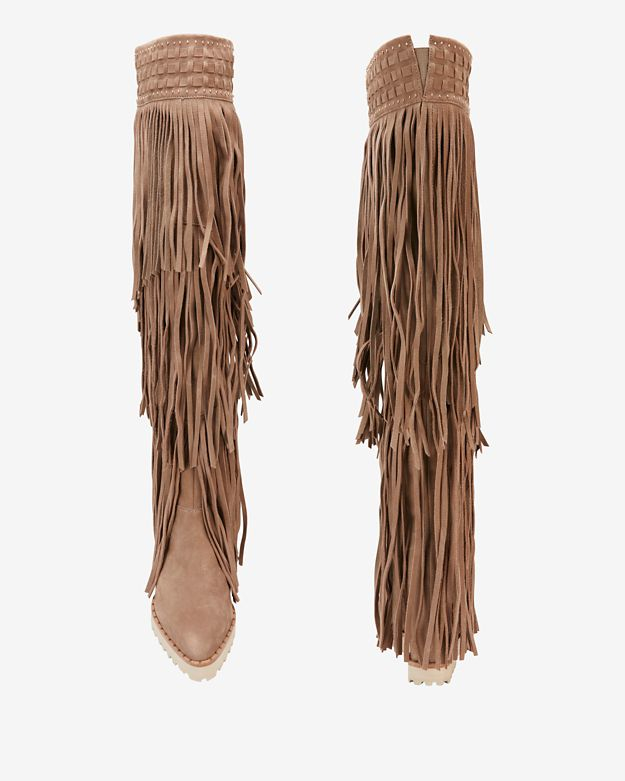 Ivy kirzhner Tiered Fringe Knee High Wedge Boot in Brown | Lyst