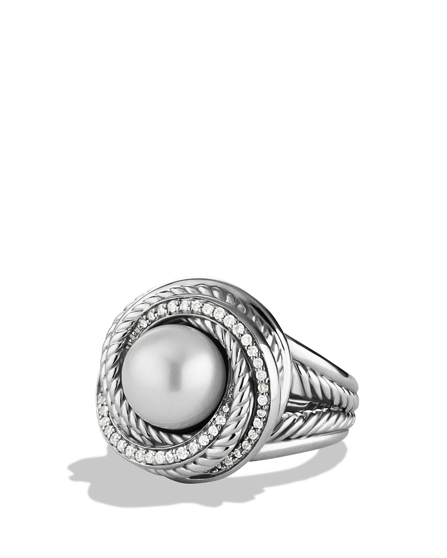 david yurman pearl crossover ring with diamonds in silver