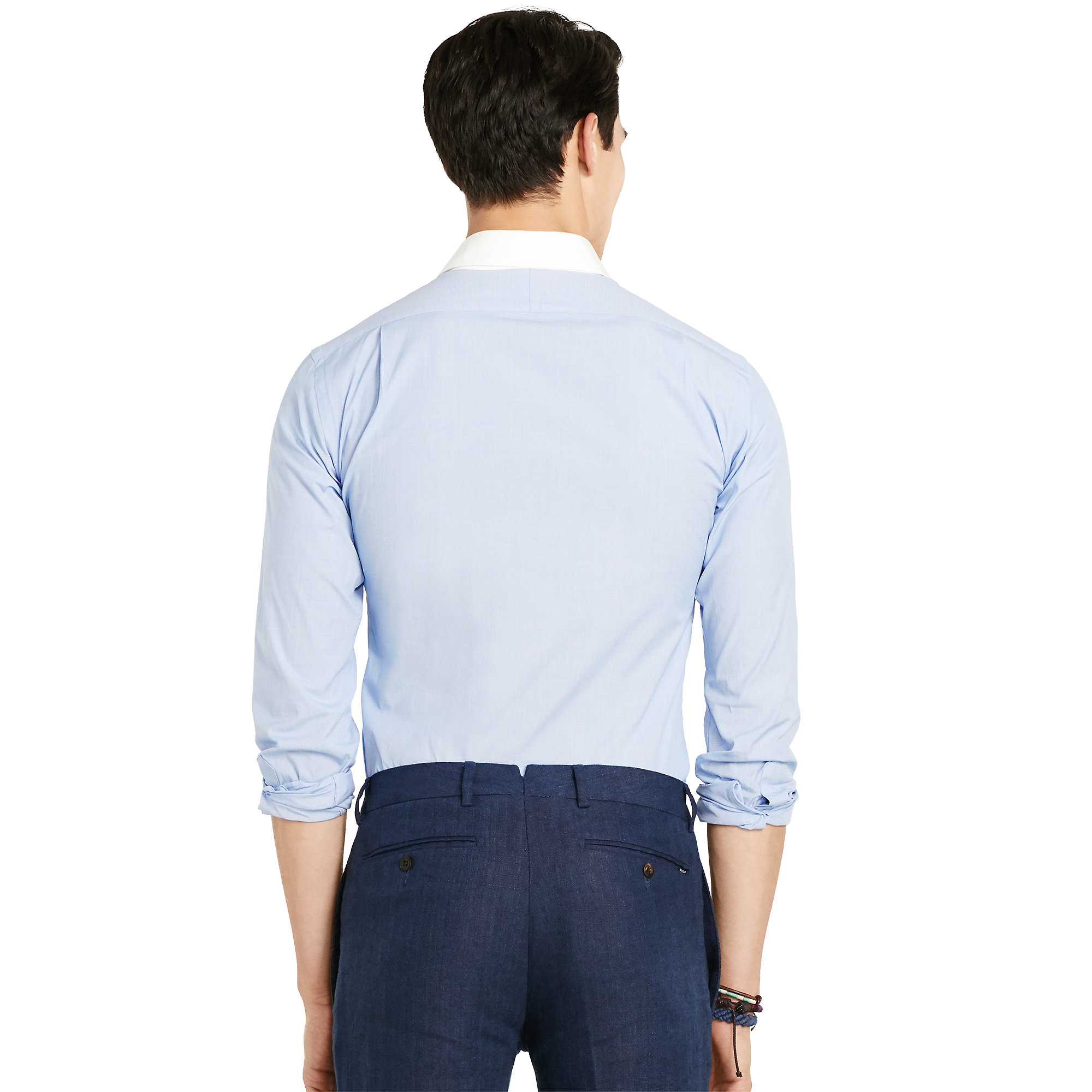 Polo ralph lauren slim stretch club shirt in blue for men for Ralph lauren polo club shirts