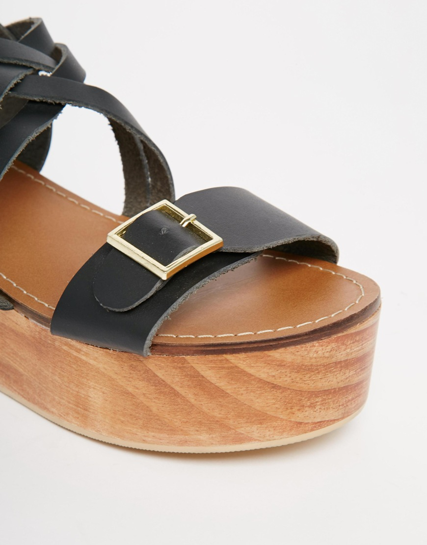 9fd69c95c1d Lyst - Park Lane Leather Flatform Sandals in Black