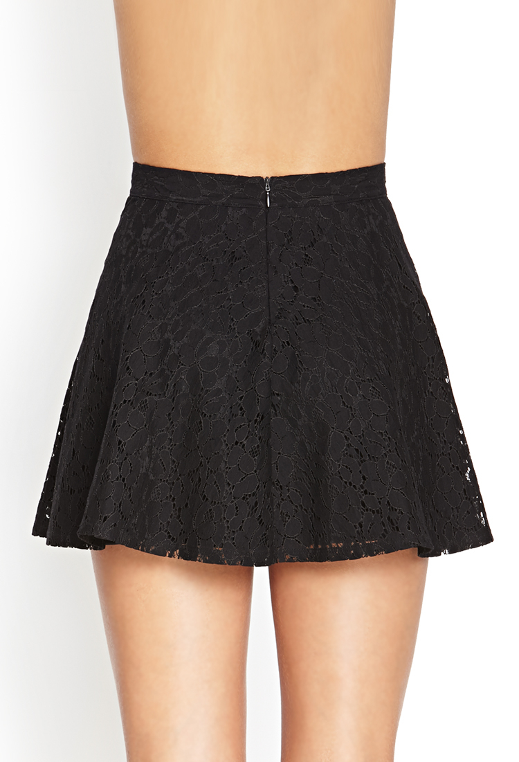 forever 21 lace a line skirt in black lyst