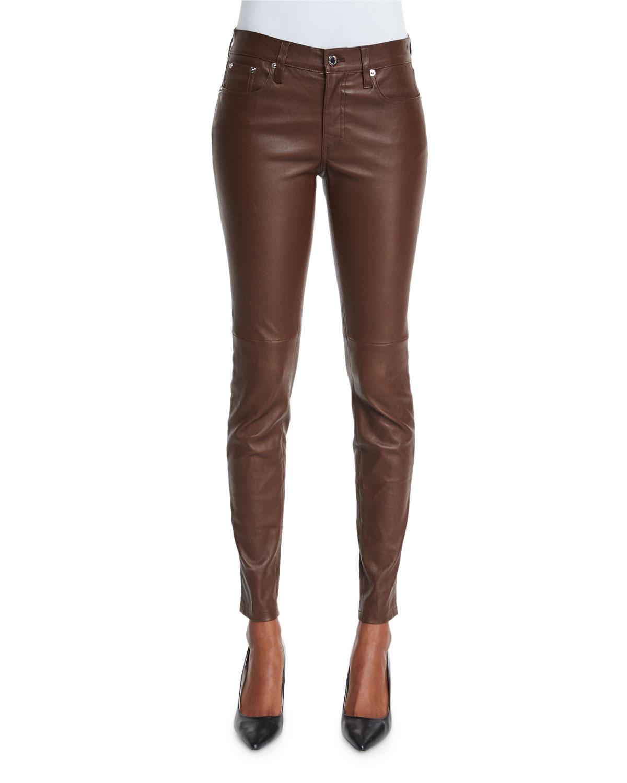 Beautiful Jean Style 5 Pocket Women Black Leather Pants