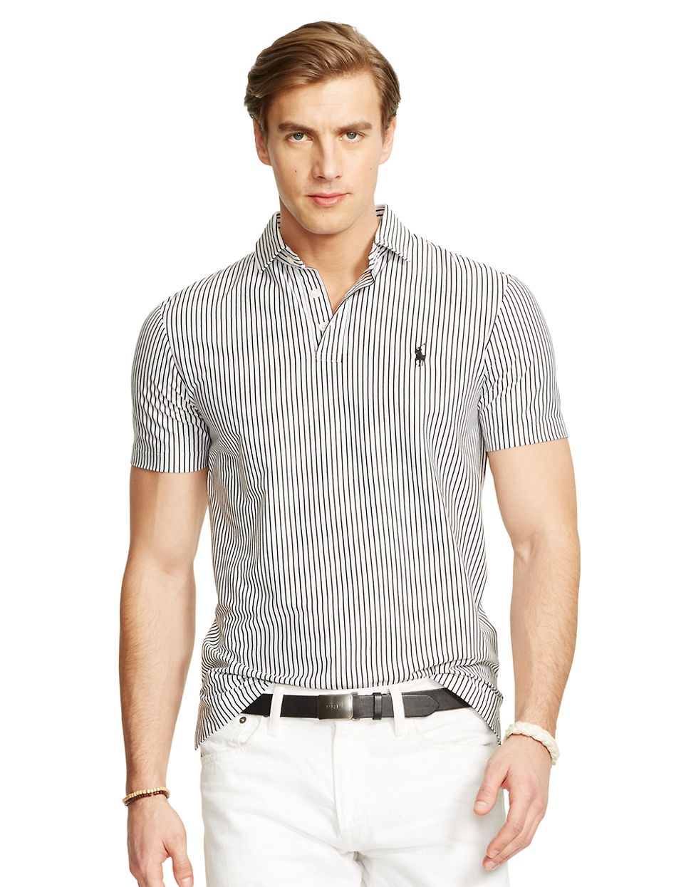 Polo ralph lauren striped cotton interlock shirt in black for Black cotton polo shirt