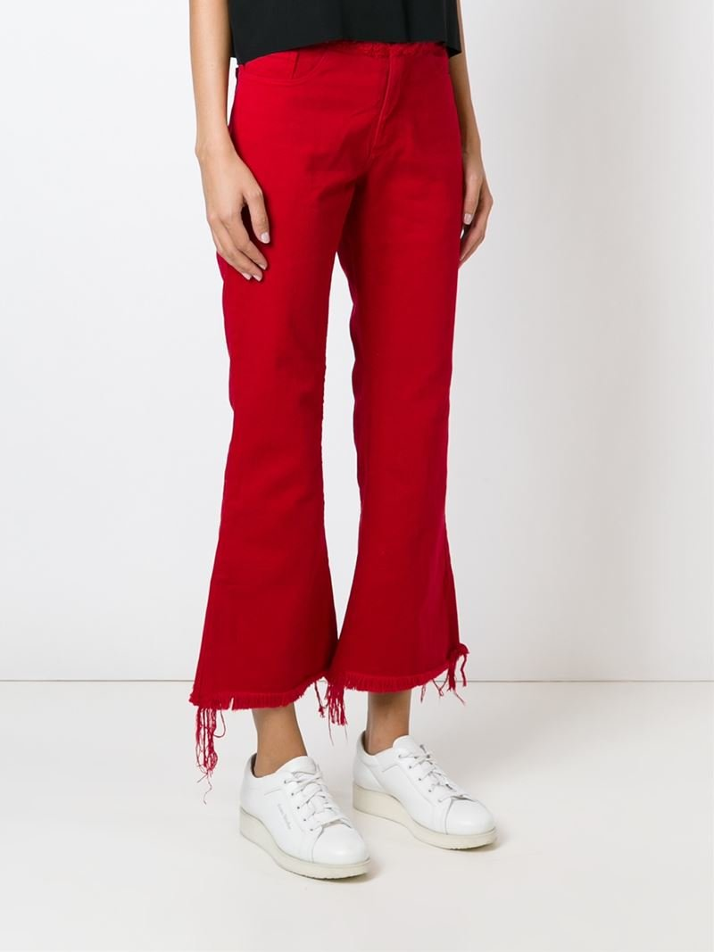 Marques'almeida Raw Edge Flared Jeans in Red | Lyst