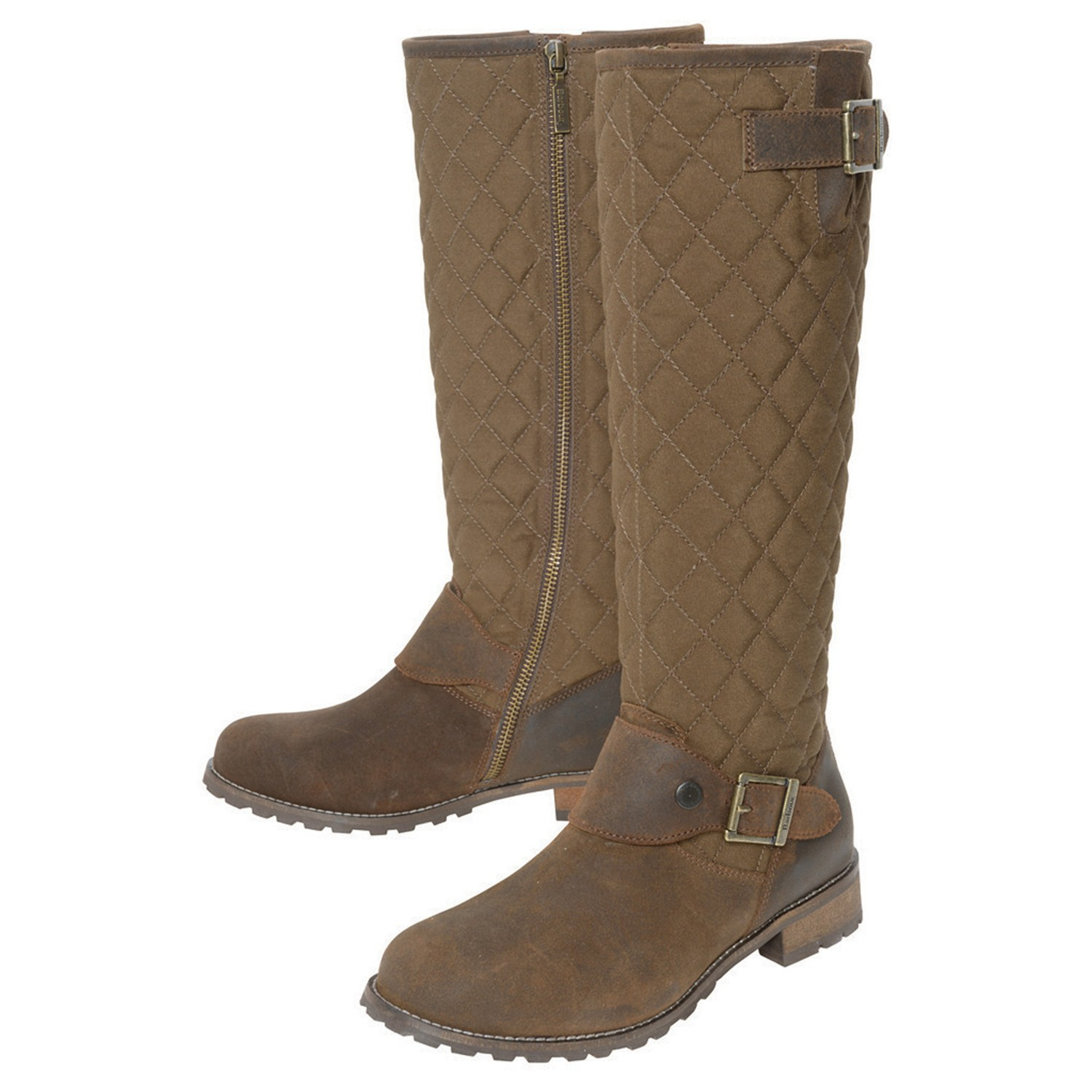 barbour hoxton quilted leather knee high boots in brown lyst