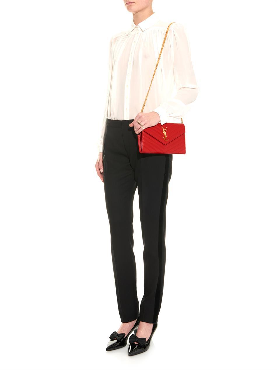 8866870787 Lyst - Saint Laurent Classic Monogram Quilted Shoulder Bag in Red
