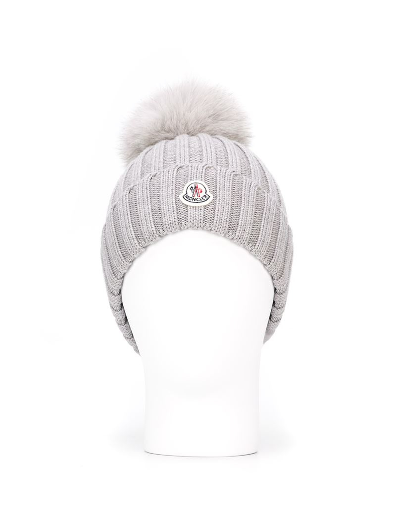 Moncler Bobble Top Beanie in Gray - Lyst f07ba1af3