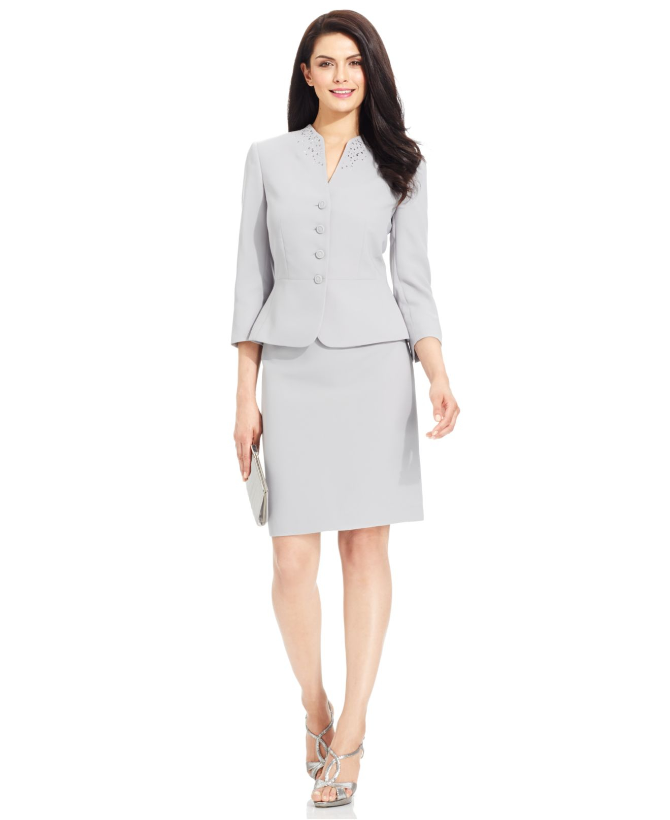 2ef6f0ddcc5a2 Tahari Petite Embellished Collarless Skirt Suit in Gray - Lyst