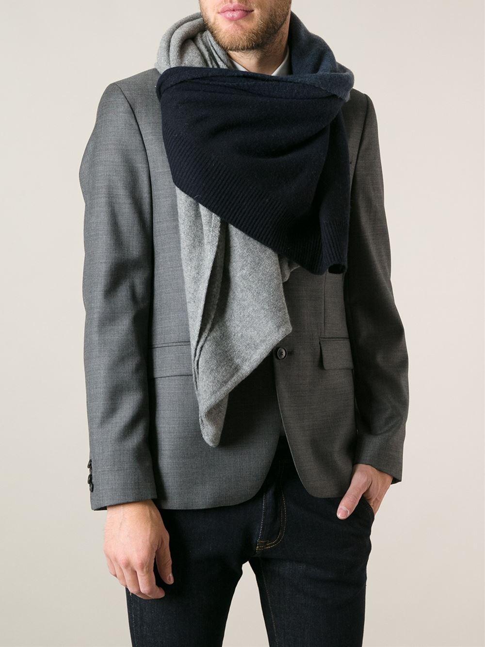 acne studios chet dip scarf in gray for lyst