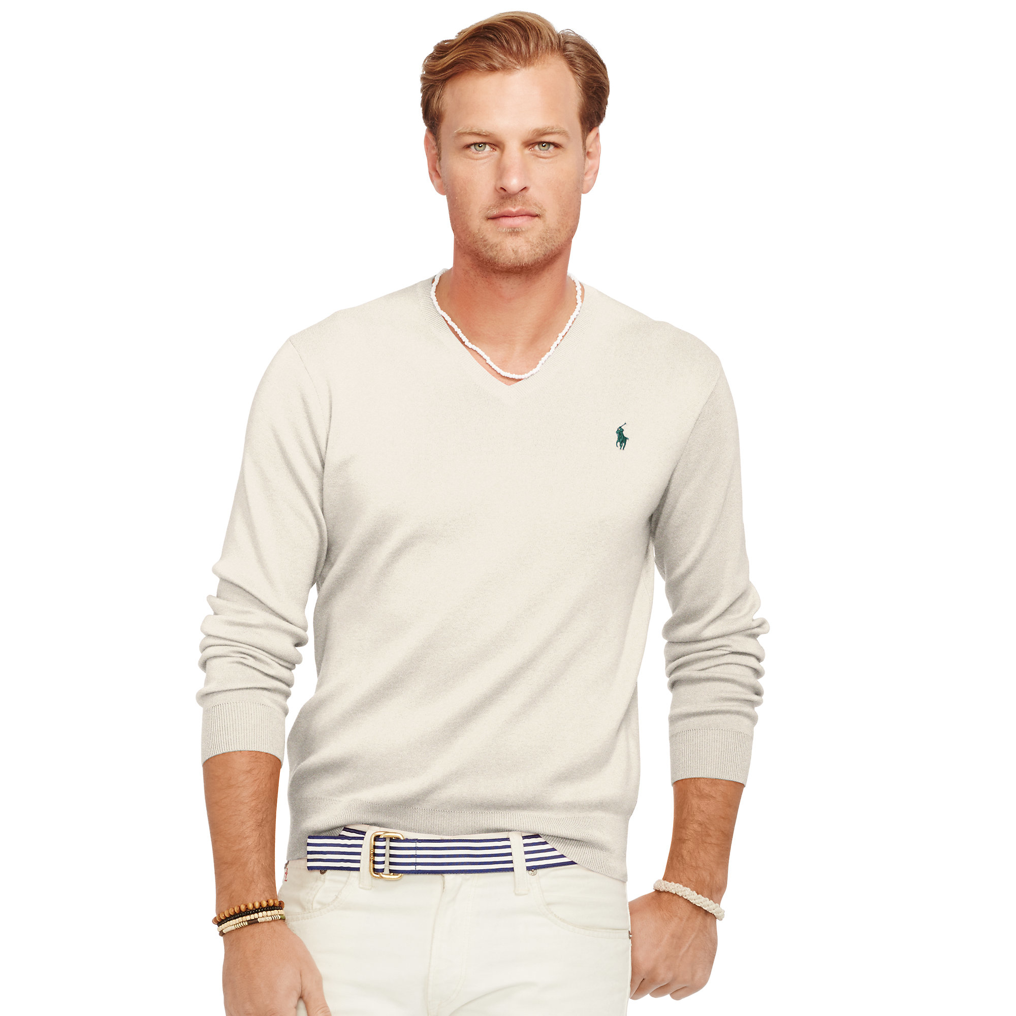 Lyst - Pink Pony Pima Cotton V-neck Sweater in White for Men eb074df5c