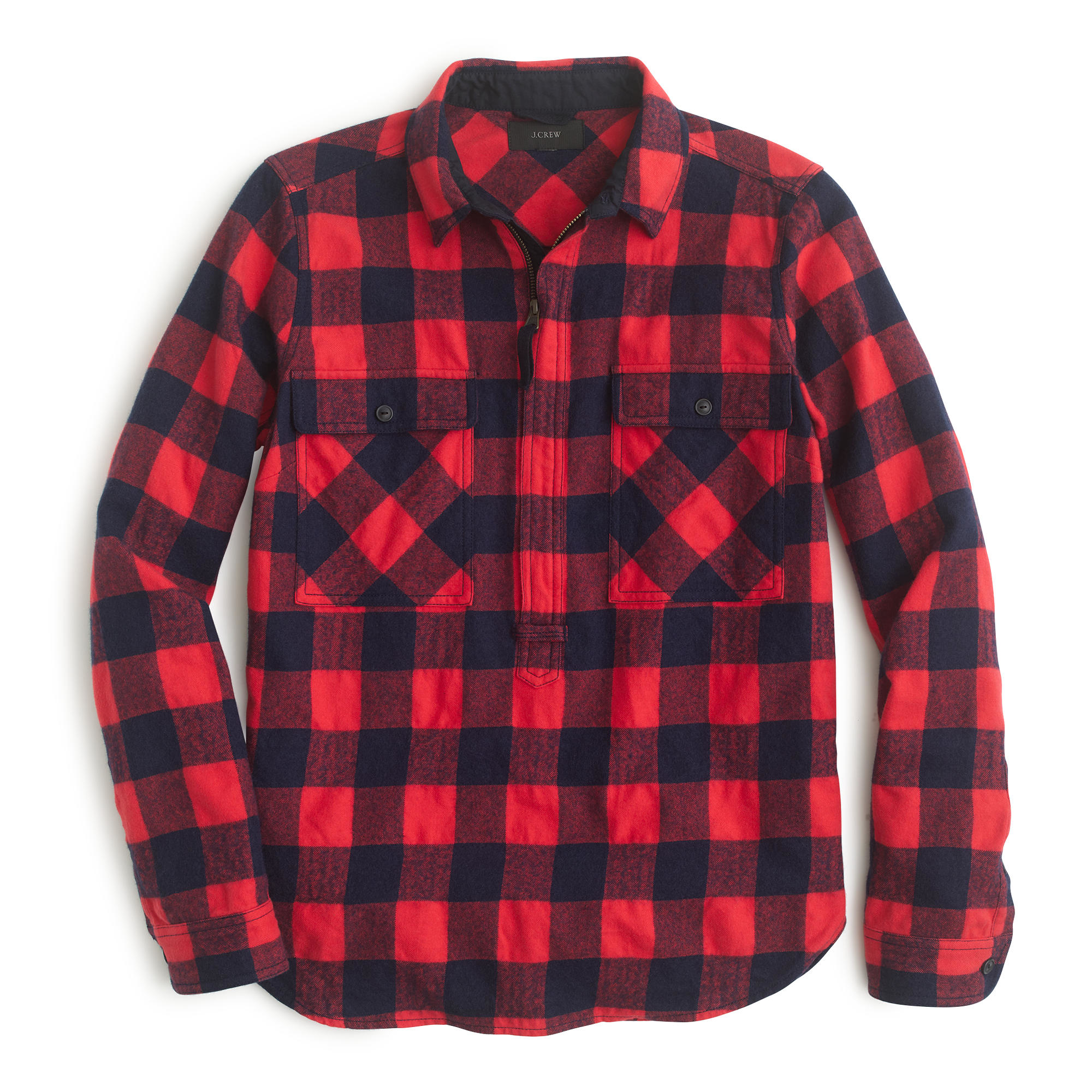 J.crew Buffalo Check Shirt-jacket in Red | Lyst