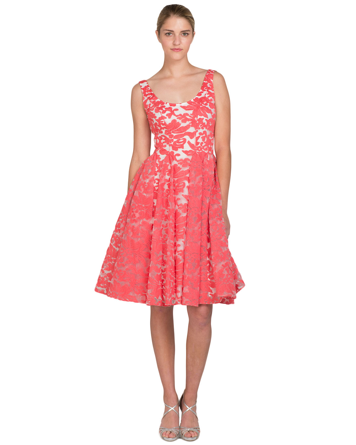 Badgley mischka Floral Godet Circle Skirt Dress in Pink | Lyst