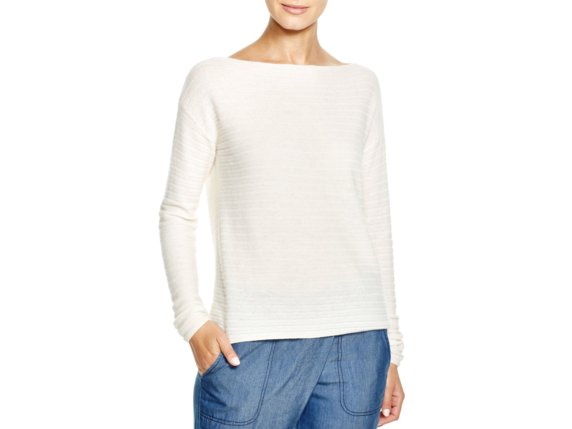Vince Ribbed Cashmere Sweater in White | Lyst