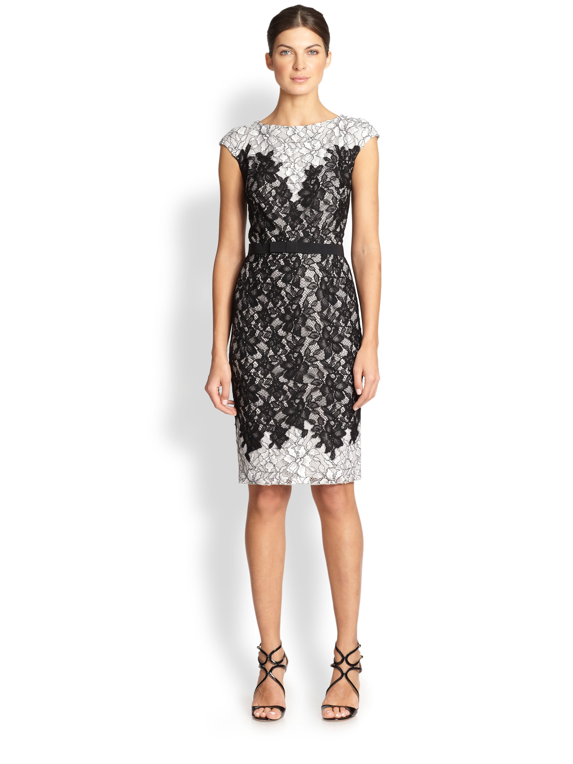 Tadashi shoji Contrast-lace Cocktail Dress in Black | Lyst