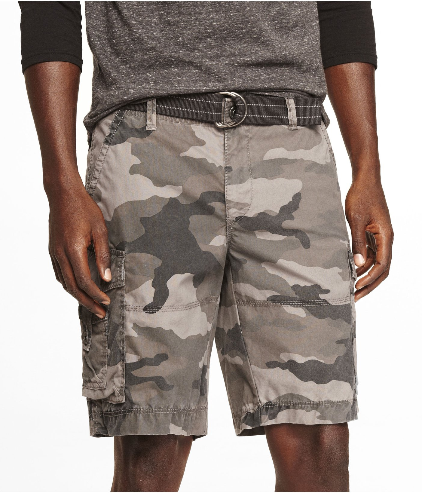 Express 10 Inch Belted Camouflage Cargo Shorts for Men | Lyst