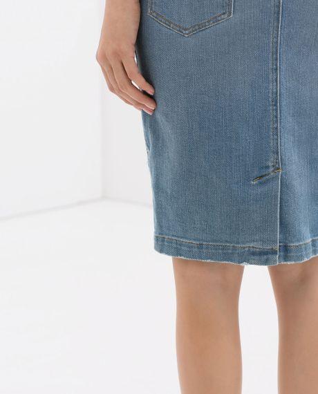 zara ripped denim pencil skirt in blue light blue lyst