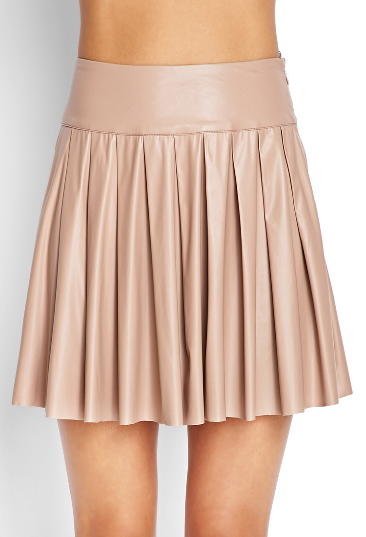 forever 21 faux leather skater skirt in beige taupe lyst