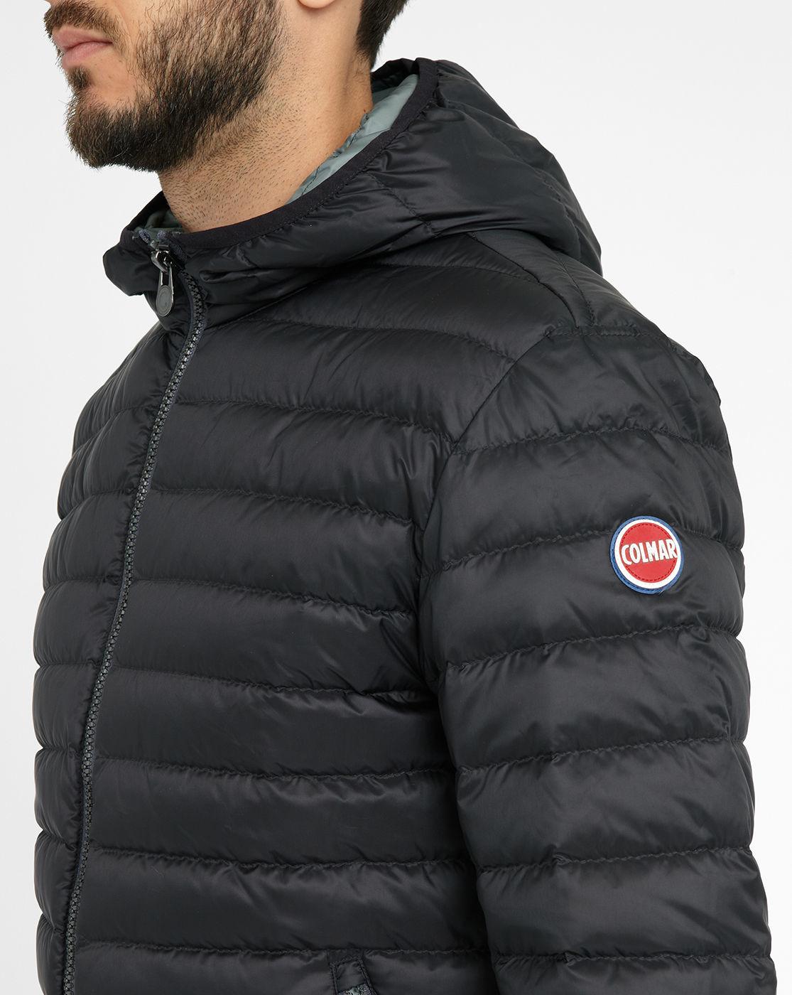colmar black light 1277 hooded down jacket in black for men lyst. Black Bedroom Furniture Sets. Home Design Ideas