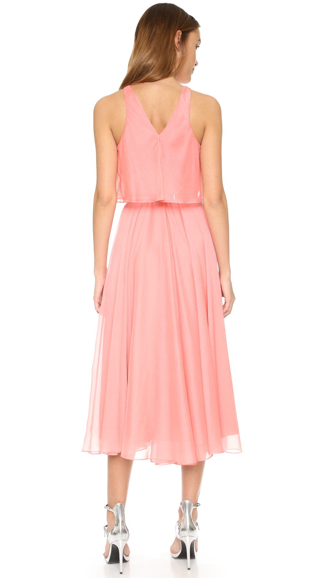Halston Pleated Maxi Dress in Pink | Lyst