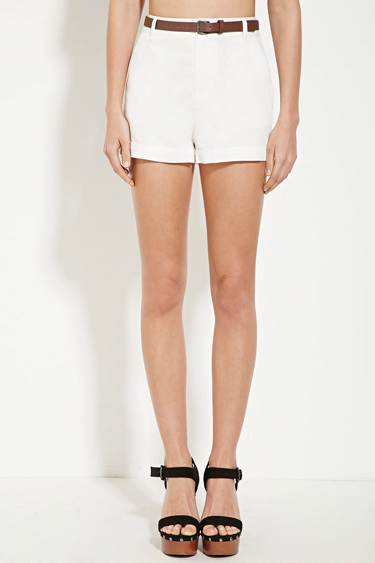 Forever 21 Belted High-waisted Shorts in Natural   Lyst
