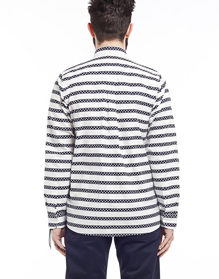 Carhartt wip long sleeve polka stripe shirt navy in blue for Navy blue striped long sleeve shirt