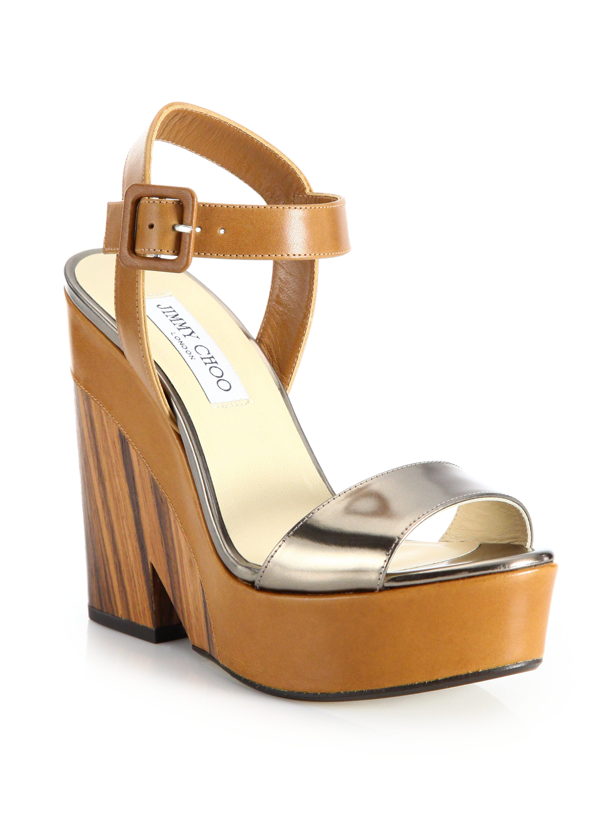 c7ee6809284a ... inexpensive lyst jimmy choo nico metallic leather wooden wedge sandals  in 5d329 94551