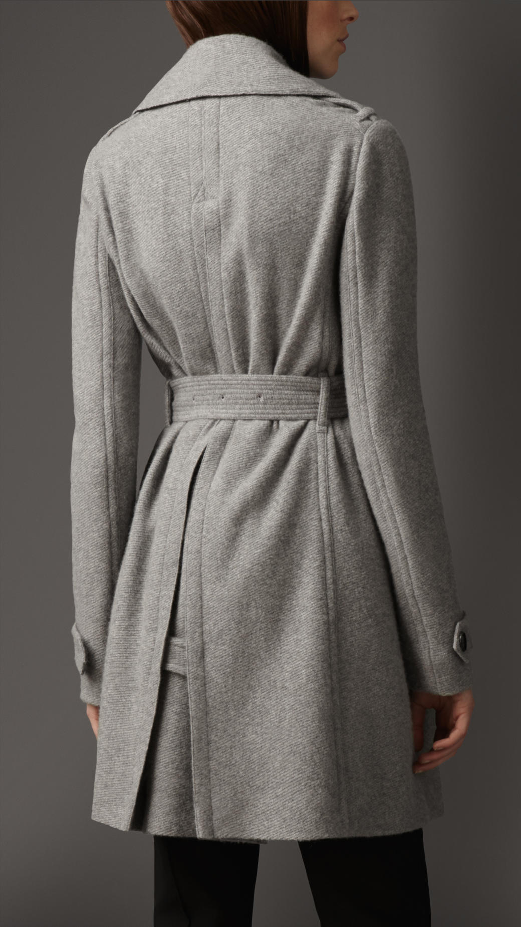 Burberry Cashmere Belted Wrap Coat in Gray   Lyst
