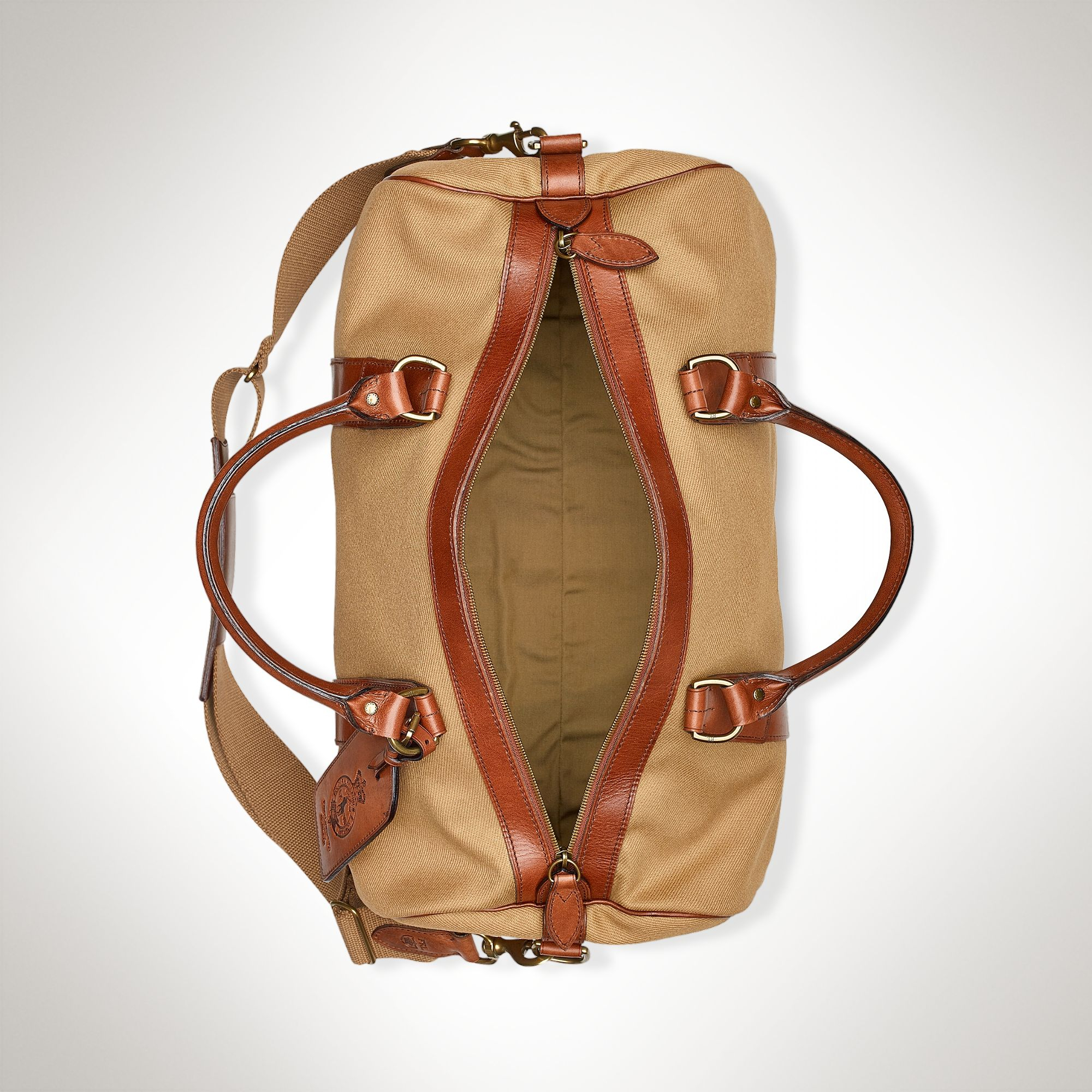 675cb2346f Polo Ralph Lauren Canvas Leather Gym Bag in Natural for Men - Lyst