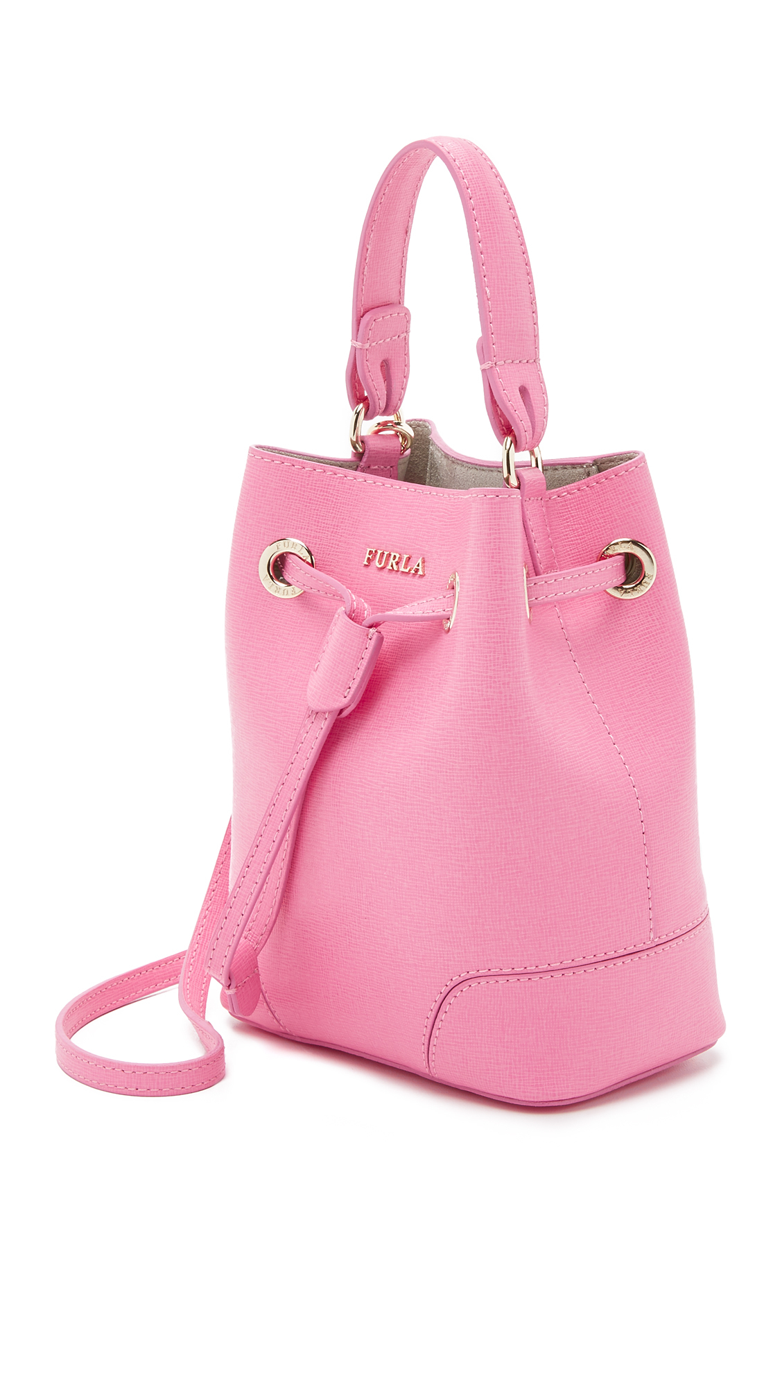 Lyst Furla Stacy Mini Drawstring Bucket Bag In Pink