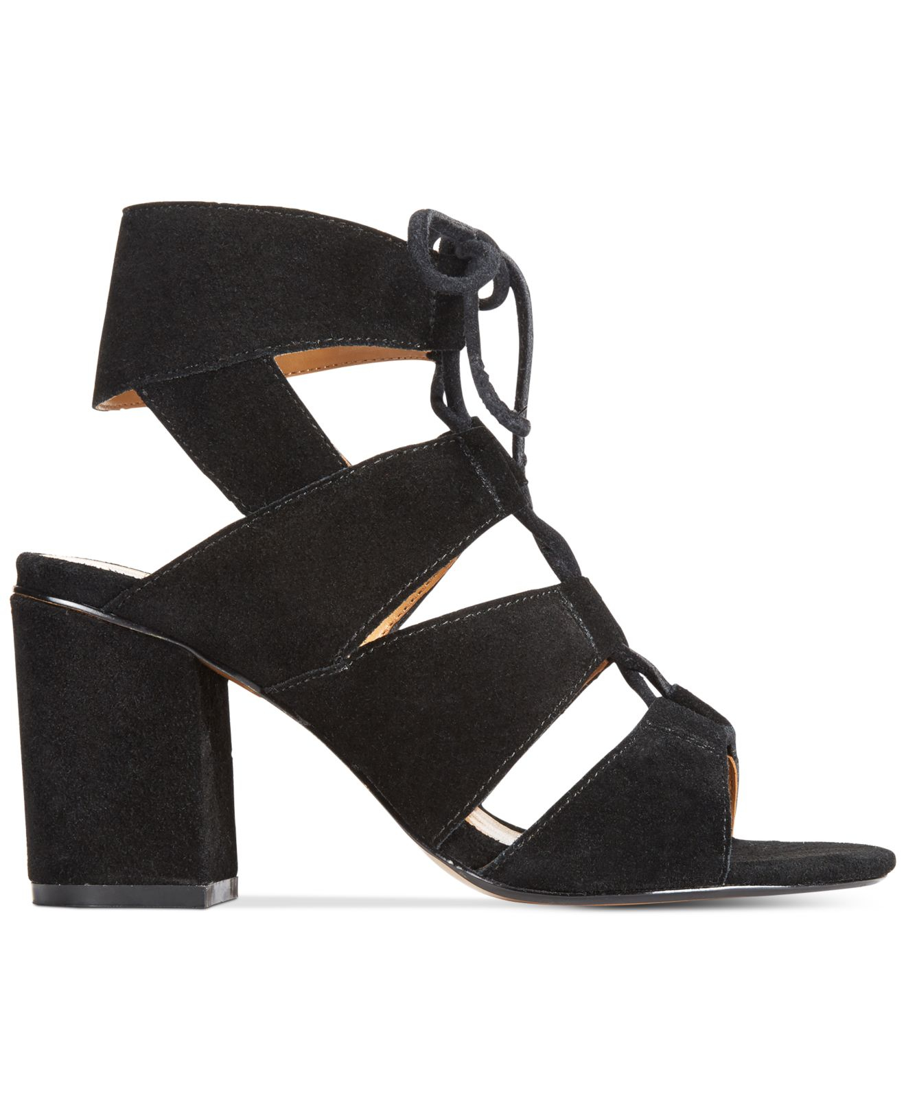 718fa6f5aac Lyst - Report Edolie Block Heel Lace-up Sandals in Black