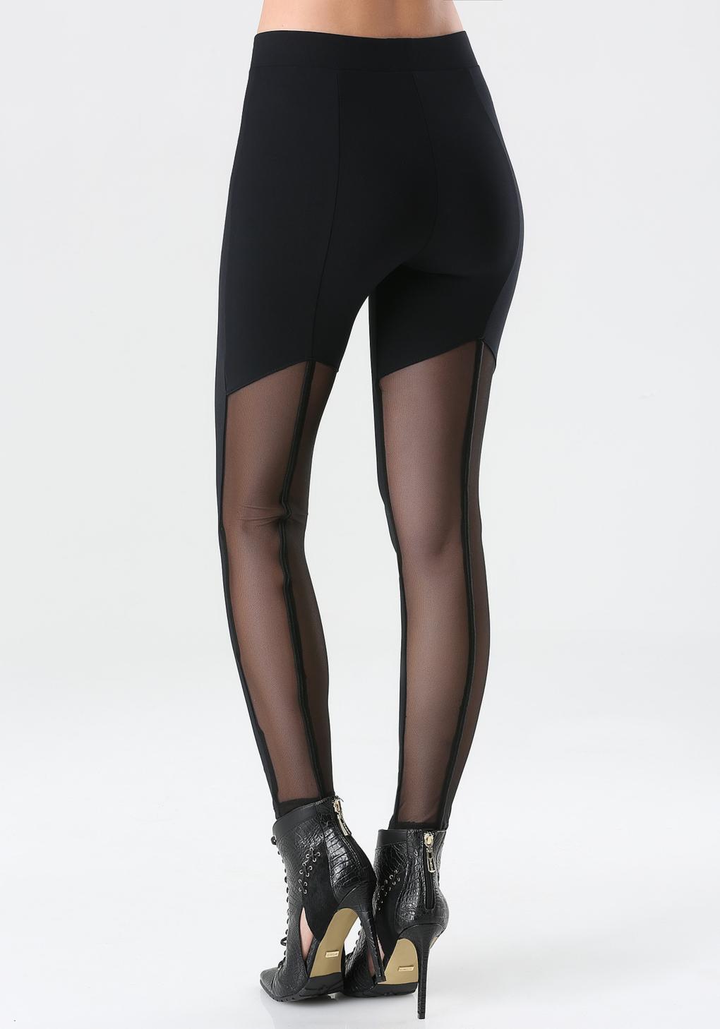 Bebe Back Mesh Leggings in Black | Lyst